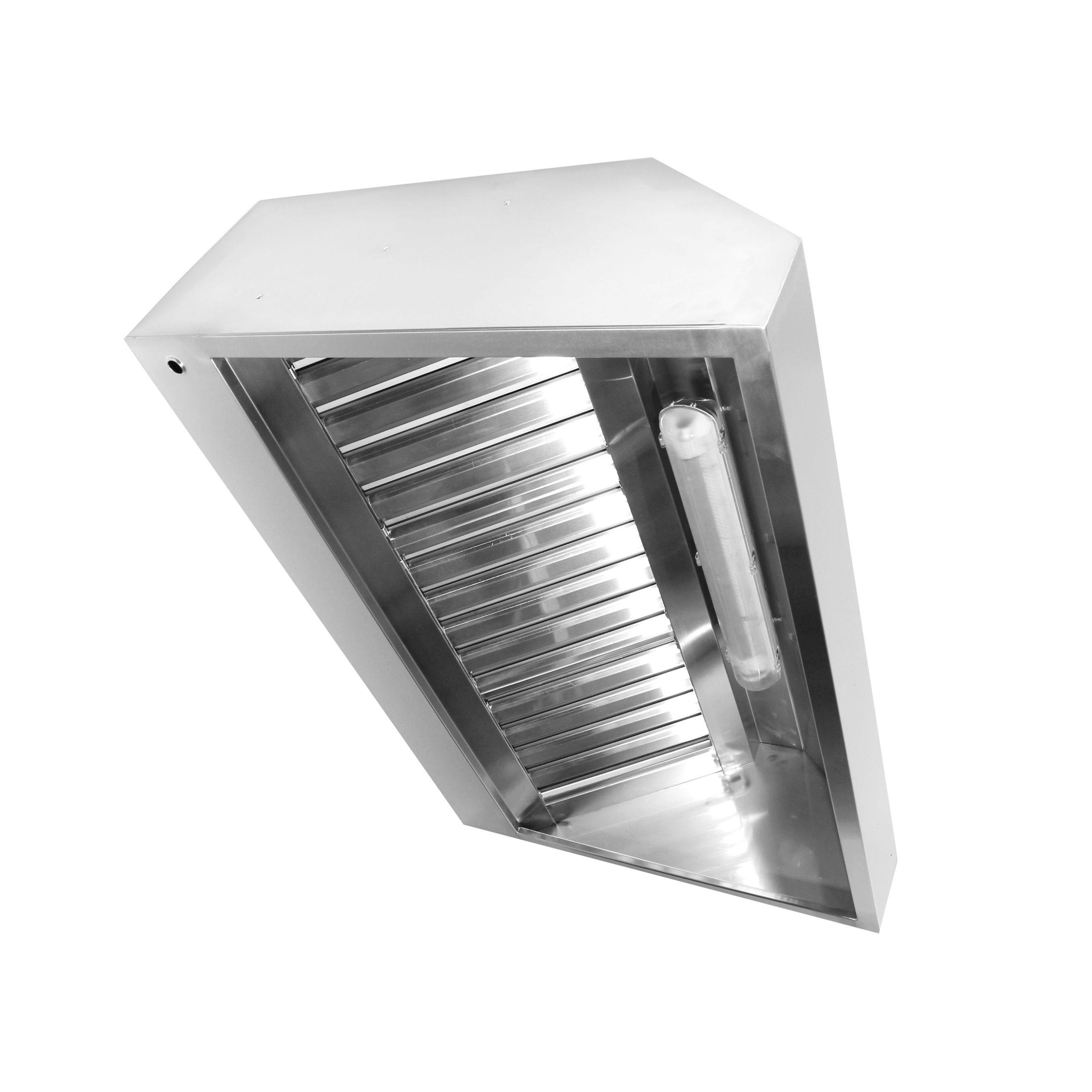 Зонт вытяжной пристенный гладкий из нержавеющей стали