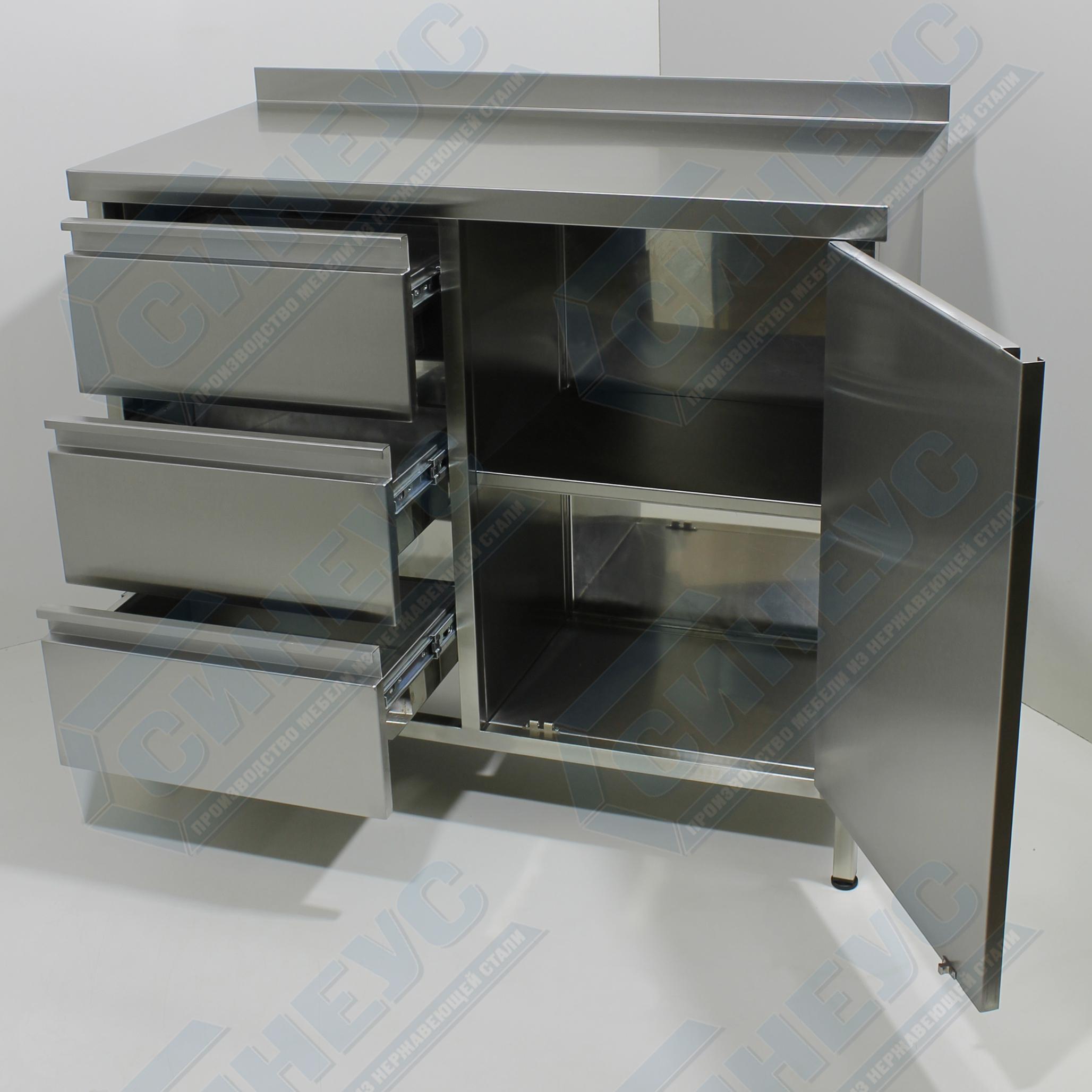 Стол-тумба с выдвижными ящиками и распашной дверью
